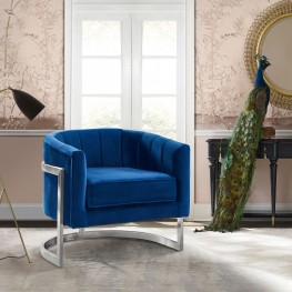 Kamila Contemporary Accent Chair in Blue Velvet and Brushed Stainless Steel Finish