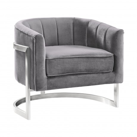 Kamila Contemporary Accent Chair in Grey Velvet and Brushed Stainless Steel Finish
