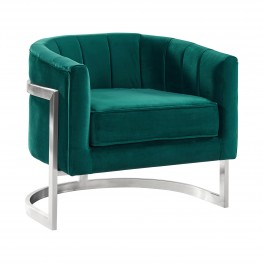 Kamila Contemporary Accent Chair in Green Velvet and Brushed Stainless Steel Finish