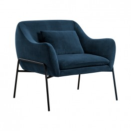 Karen Blue Velvet Modern Accent Chair
