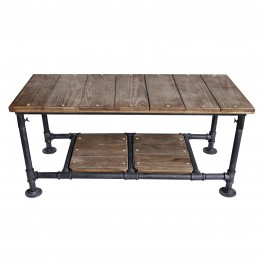 Kyle Industrial Coffee Table in Industrial Grey and Pine Wood