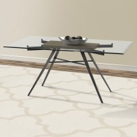 Armen Living Leah Contemporary Rectangular Dining Table in Mineral Finish with Clear Glass Top and Grey Walnut Wood Insert