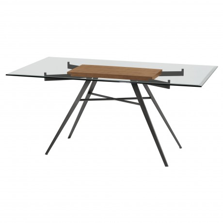 Leah Contemporary Rectangular Dining Table in Mineral Finish with Clear Glass Top and Walnut Wood Insert