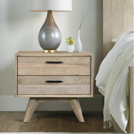 Baly Acacia Mid-Century 2 Drawer Night stand