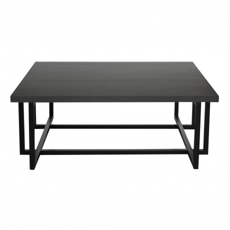 Armen Living Logan Contemporary Coffee Table with Black Iron Finish and Grey Wood Top