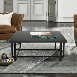 Logan Contemporary Coffee Table with Black Iron Finish and Grey Wood Top