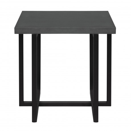 Logan Contemporary End Table with Black Iron Finish and Grey Wood Top