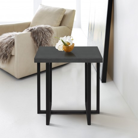 Armen Living Logan Contemporary End Table with Black Iron Finish and Grey Wood Top