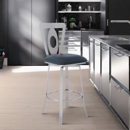 """Lola Contemporary 30"""" Bar Height Barstool in Brushed Stainless Steel Finish and Grey Faux Leather"""