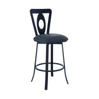 """Lola Contemporary 30"""" Bar Height Barstool in Matte Black Finish and Grey Faux Leatherr"""