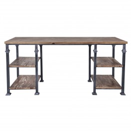 Liam Industrial Desk in Industrial Grey and Pine Wood