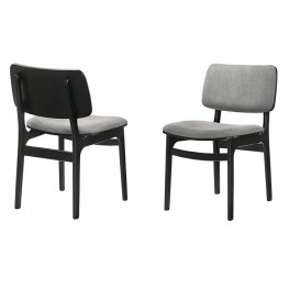 Lima Wood Dining Accent Chairs in Black Finish and Grey Fabric - Set of 2
