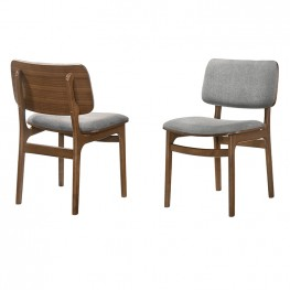 Lima Wood Dining Accent Chairs in Walnut Finish and Grey Fabric - Set of 2