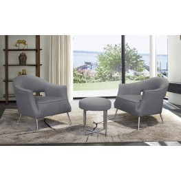 Lyric Contemporary Accent Chair in Brushed Stainless Steel Finish with Grey Fabric