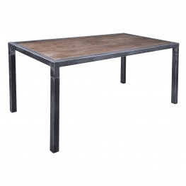 Armen Living Lars Industrial Dining Table in Industrial Grey and Pine Wood