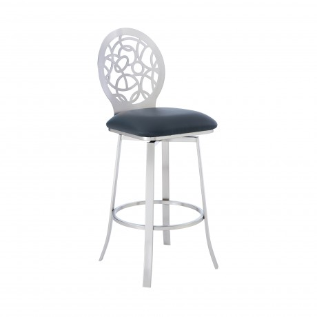 """Lotus Contemporary 26"""" Counter Height Barstool in Brushed Stainless Steel Finish and Grey Faux Leather"""