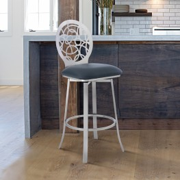 """Lotus Contemporary 30"""" Bar Height Barstool in Brushed Stainless Steel Finish and Grey Faux Leather"""