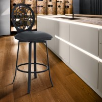 """Lotus Contemporary 30"""" Bar Height Barstool in Matte Black Finish and Grey Faux Leather"""