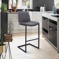 """Lucas Contemporary 26"""" Counter Height Barstool in Black Powder Coated Finish and Grey Faux Leather"""
