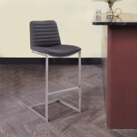 """Lucas Contemporary 26"""" Counter Height Barstool in Brushed Stainless Steel Finish and Grey Faux Leather"""