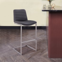 "Lucas Contemporary 30"" Bar Height Barstool in Brushed Stainless Steel Finish and Grey Faux Leather"
