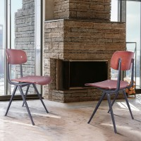 Levi Industrial Dining Chair in Black and Wood - Set of 2