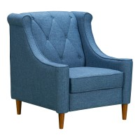 Luxe Mid-Century Sofa Chair in Champagne Finish and Blue Fabric with Rubber Wood