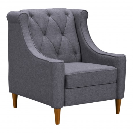 Luxe Mid-Century Sofa Chair in Champagne Finish and Dark Grey Fabric with Rubber Wood