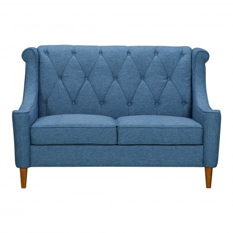 Luxe Mid-Century Loveseat in Champagne Finish and Blue Fabric with Rubber Wood