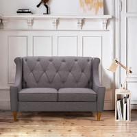 Luxe Mid-Century Loveseat in Champagne Finish and Dark Grey Fabric with Rubber Wood