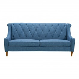 Luxe Mid-Century Sofa in Champagne Finish and Blue Fabric with Rubber Wood