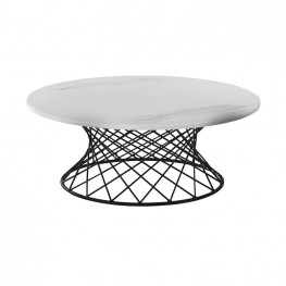 Loxley White Marble Coffee Table with Black Metal Base