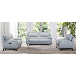 Lizette Contemporary Loveseat in Dark Brown Wood Finish and Dove Grey Genuine Leather