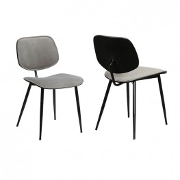 Lizzy Grey Velvet Modern Dining Accent Chairs - Set of 2