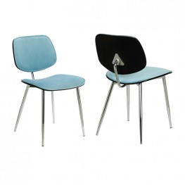 Lizzy Blue Velvet Modern Dining Accent Chairs - Set of 2