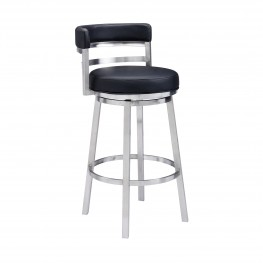 "Madrid Contemporary 26"" Counter Height Barstool in Brushed Stainless Steel Finish and Black Faux Leather"