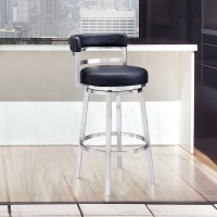 """Madrid Contemporary 26"""" Counter Height Barstool in Brushed Stainless Steel Finish and Black Faux Leather"""
