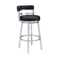 """Madrid Contemporary 30"""" Bar Height Barstool in Brushed Stainless Steel Finish and Black Faux Leather"""