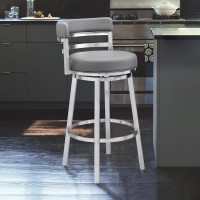 """Madrid Contemporary 30"""" Bar Height Barstool in Brushed Stainless Steel Finish and Grey Faux Leather"""