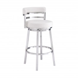 "Madrid Contemporary 30"" Bar Height Barstool in Brushed Stainless Steel Finish and White Faux Leather"