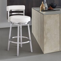 """Madrid Contemporary 30"""" Bar Height Barstool in Brushed Stainless Steel Finish and White Faux Leather"""