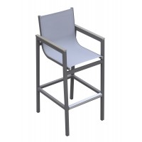 Armen Living Marina Outdoor Patio Barstool inGrey Powder Coated Finish with GreySling Textilene and Grey Wood Accent Arms