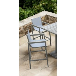 Marina Outdoor Patio Barstool in Grey Powder Coated Finish with Grey Sling Textilene and Grey Wood Accent Arms