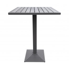 Marina Outdoor Grey Patio Bar Table in Grey Powder Coated Finish and Grey Wood Top