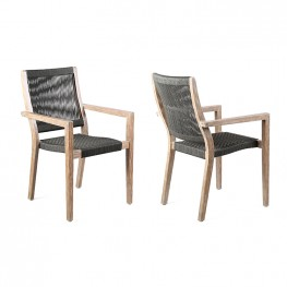 Madsen Outdoor Dining Chairs in Teak Finish with Charcoal Rope - Set of 2