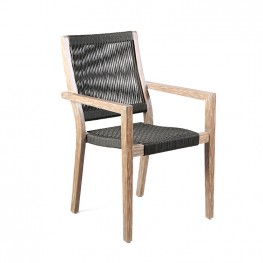 Madsen Outdoor Patio Charcoal Rope Arm Chair in Teak Finish - Set of 2
