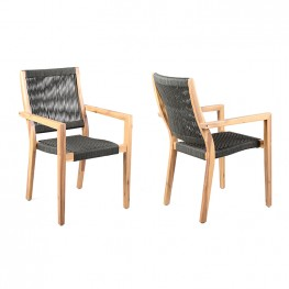 Madsen Outdoor Acacia Wood and Charcoal Rope Dining Chairs - Set of 2