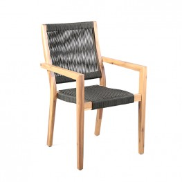 Madsen Outdoor Patio Charcoal Rope Arm Chair in Natural Acacia Finish - Set of 2