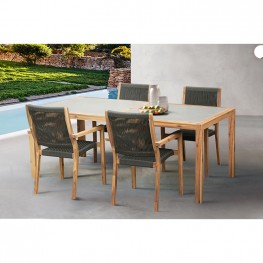 Madsen Outdoor Eucalyptus Wood and Charcoal Rope Dining Chairs with Teak Finish - Set of 2