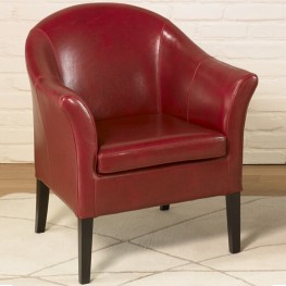 Armen Living 1404 Red Leather Club Chair